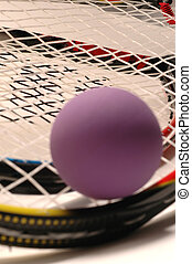 Racquetball, púrpura, raqueta