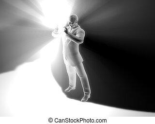 Businessmans magic - Enlightening Innovation. 3D rendered...