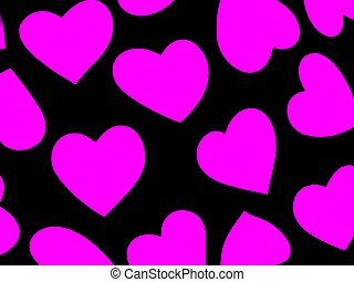 Heart Background Mag - Black with Magenta-pink hearts Fabric...