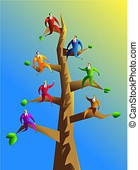 company branches - concept illustration showing colourful...