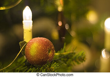 Christmas 1 - Christmas apple with candle in tree