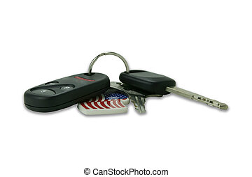 Car keys with remote access and a key chain