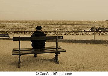 benchman #06 - Man on Bench, next to the sea, Sepia,...
