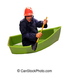 Up the Creek - ,a man in a boat,wearing rain gear, using a...