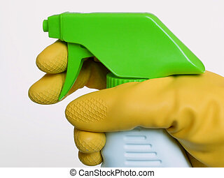 spray cleaner and rubber glove