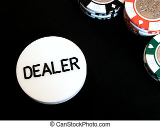 poker dealer button - dealer button and poker chips