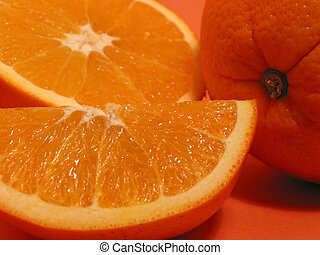 Orange oranges closeup 1 - Fresh oranges on orange...