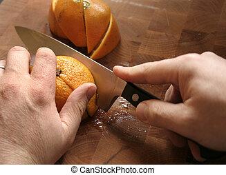 laranja, corte