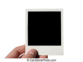 holding polaroid - holding blank polaroid - isolated