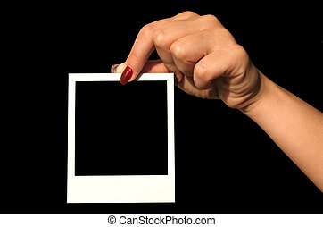 blank polaroid - holding blank polaroid