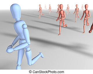 Running away 3   - Running away. 3D rendered illustration.