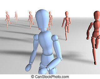Running away 2 - Running away. 3D rendered illustration....
