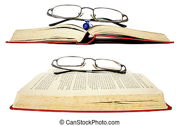 Glasses and Books - Wide angle books with glasses over white