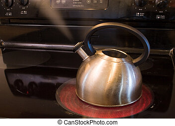 pot steaming - a pot warming water