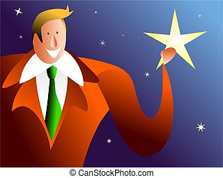 catch a falling star - happy man holding a fallen star -...