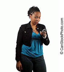 Text Message - A young woman receiving a text message.