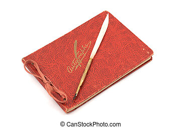 Autograph Book - Autograph book with quill pen from the...