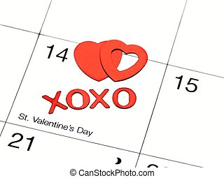 valentines date on calender with xoxo and hearts,shallow dof