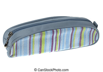 Pencil case on a white background