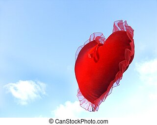 heart - isolated floating heart against sky with room for...