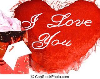 regalo, bolsa, corazón