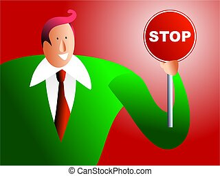 make a stand - businessman holding a stop sign