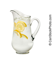 water pitcher - pitcher of water with ice and lemons