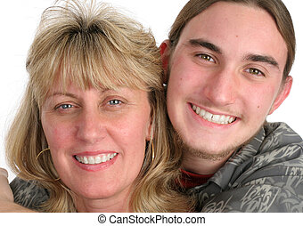 Mother Son Portrait Closeup - A blond mother and her...