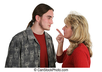 Beligerant Teen Faces Mom - A beligerant teen boy confronts...