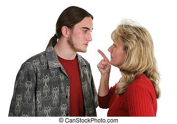 Beligerant, adolescent, faces, maman
