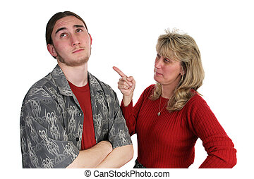 Mother Scolding Son - A mother scolding her teen son whos...