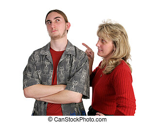 Parenting Challenge - A teen boy ignoring his mother,...