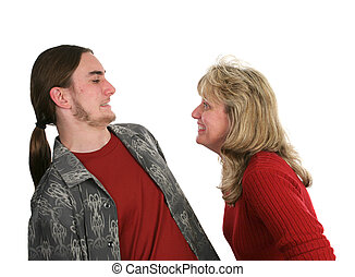 Mother Son Horseplay - A mother and her teen son joking...