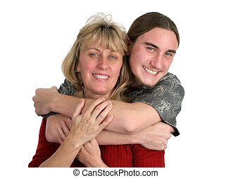 Teen Boy & His Mom - A teenaged boy and his mother posing...