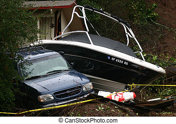 Parking Problem - Boat crashed into a car during a mudslide...