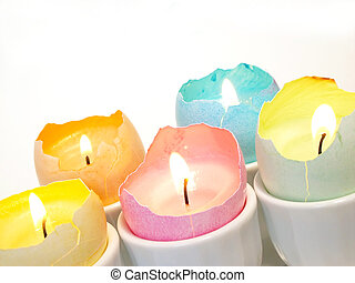 eggshell candle - Easter decoration - dyed eggshell candles