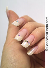 French manicure - beautiful hands with french manicure and...