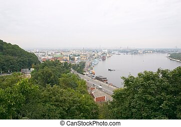 Panorama of Podol district, Kiev, Ukraine