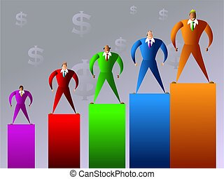 company sales - colourful executives with different sales...