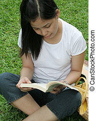 Reading book in the park