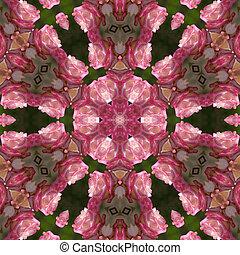 Pink rose mandala - pink rose glowing mandala