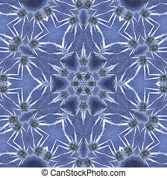 Blue ice - flower mandala in blue ice style