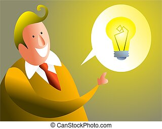 i have and idea - businessman talking about his bright idea