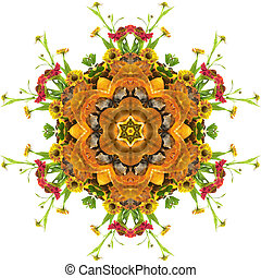 Autumn mandala - autumn floral mandala with flowers and...