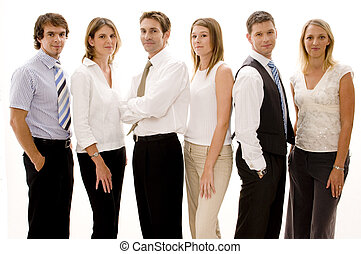 Business Group - A group of six business people on white...