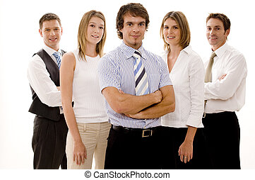 Happy Business Team - Five confident business people shallow...