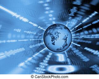 Binary world - Abstract binary code with globe