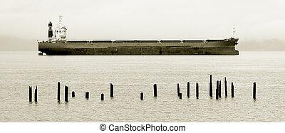 Cargo Ship, Columbia River - Photo of a cargo ship docked in...