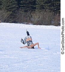 Ice Queen in action. Ice skater in an unusual pose. Cold...