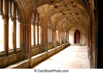 Cloisters in England where Harry Potter was filmed